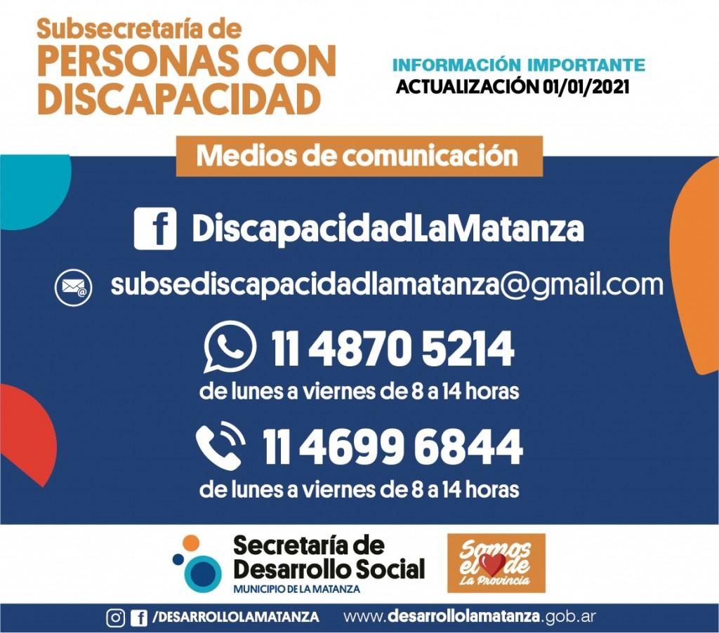 Actualización de número de teléfono de la Subsecretaría de Personas con Discapacidad.