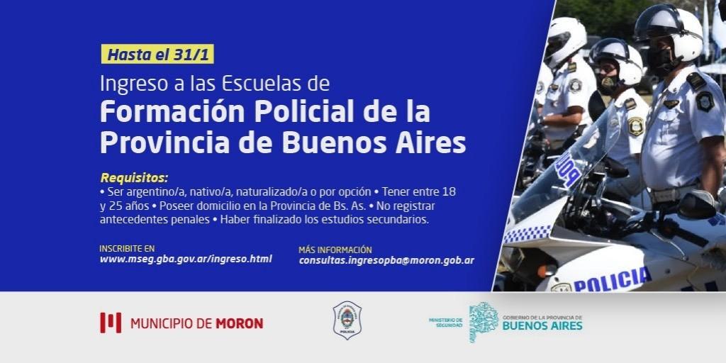El Municipio de Morón invita a inscribirse en las Escuelas de Formación Policial de la Provincia de Buenos Aires
