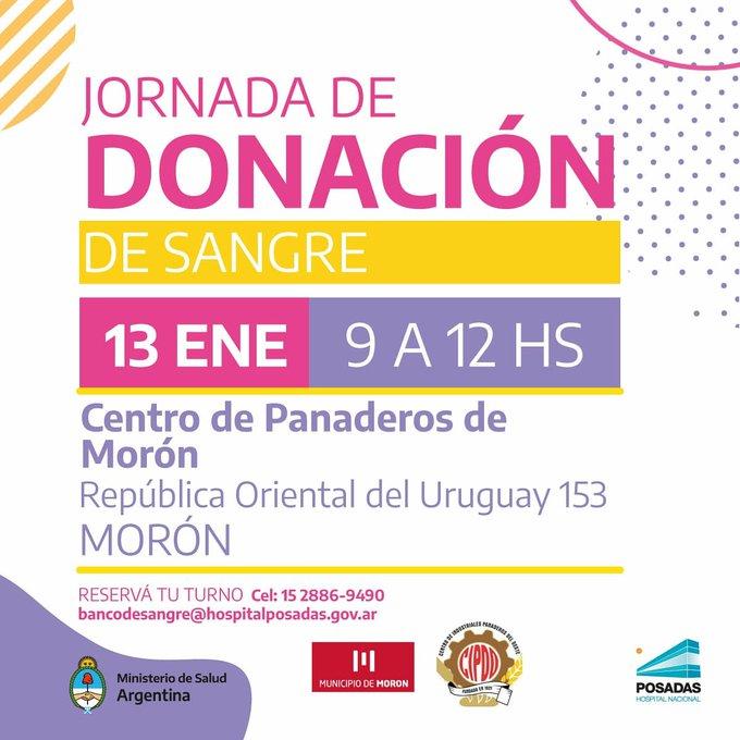 El municipio de Morón convoca a participar de una nueva jornada de donación de sangre