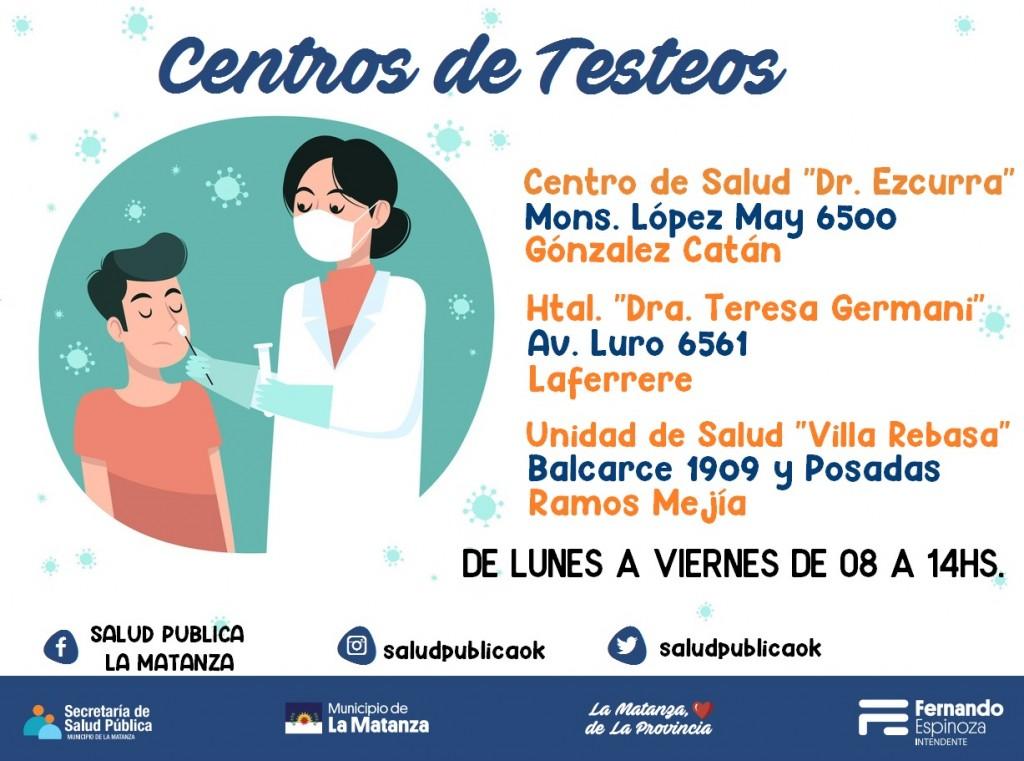 Nuevos Centros de Testeos en La Matanza