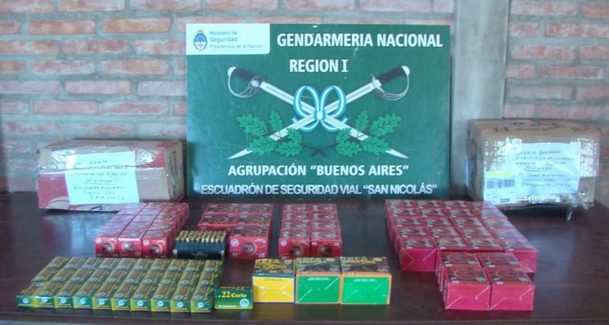 Gendarmería Nacional incautó casi 3.000 municiones en Buenos Aires