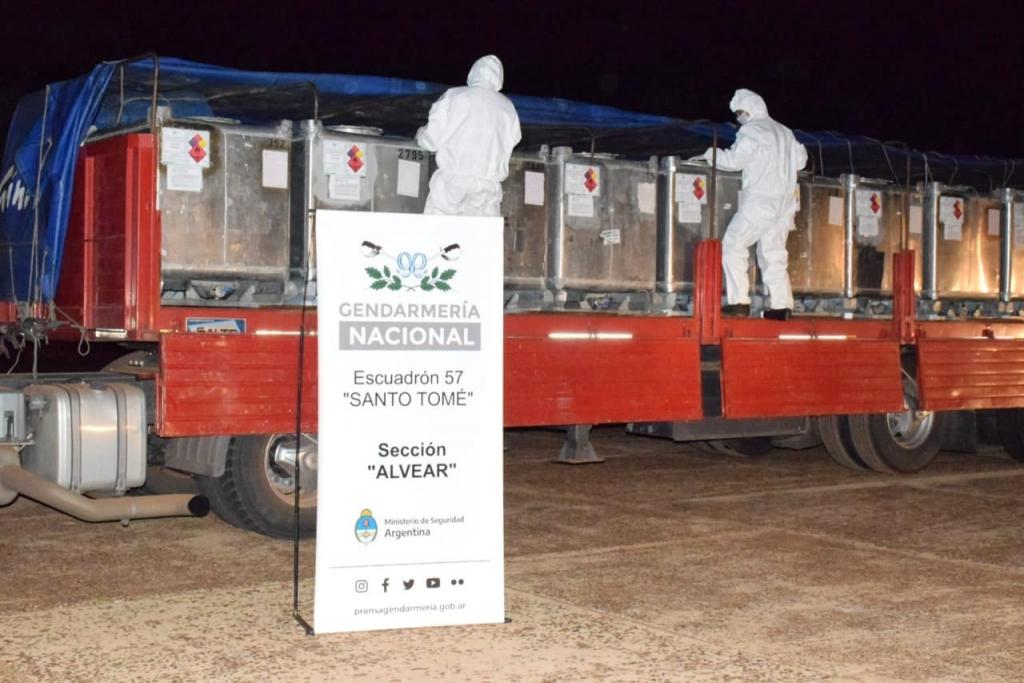 Gendarmería secuestró nueve toneladas de precursores químicos transportadas de manera ilegal