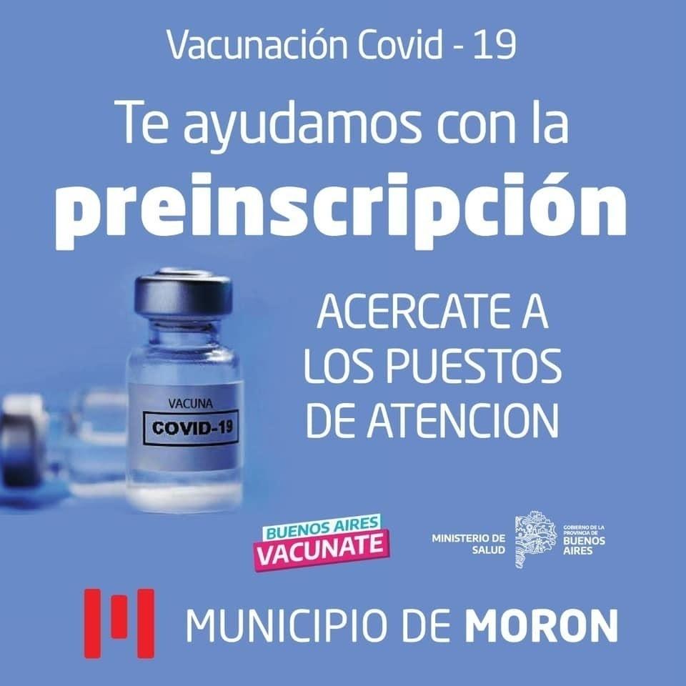 Morón avanza con la asistencia en la preinscripción de la vacuna en todo el distrito