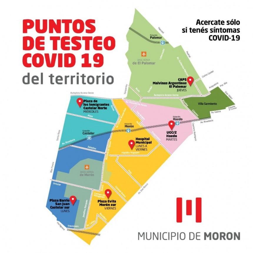 El Municipio de Morón suma puntos de testeo para detectar casos de Covid-19