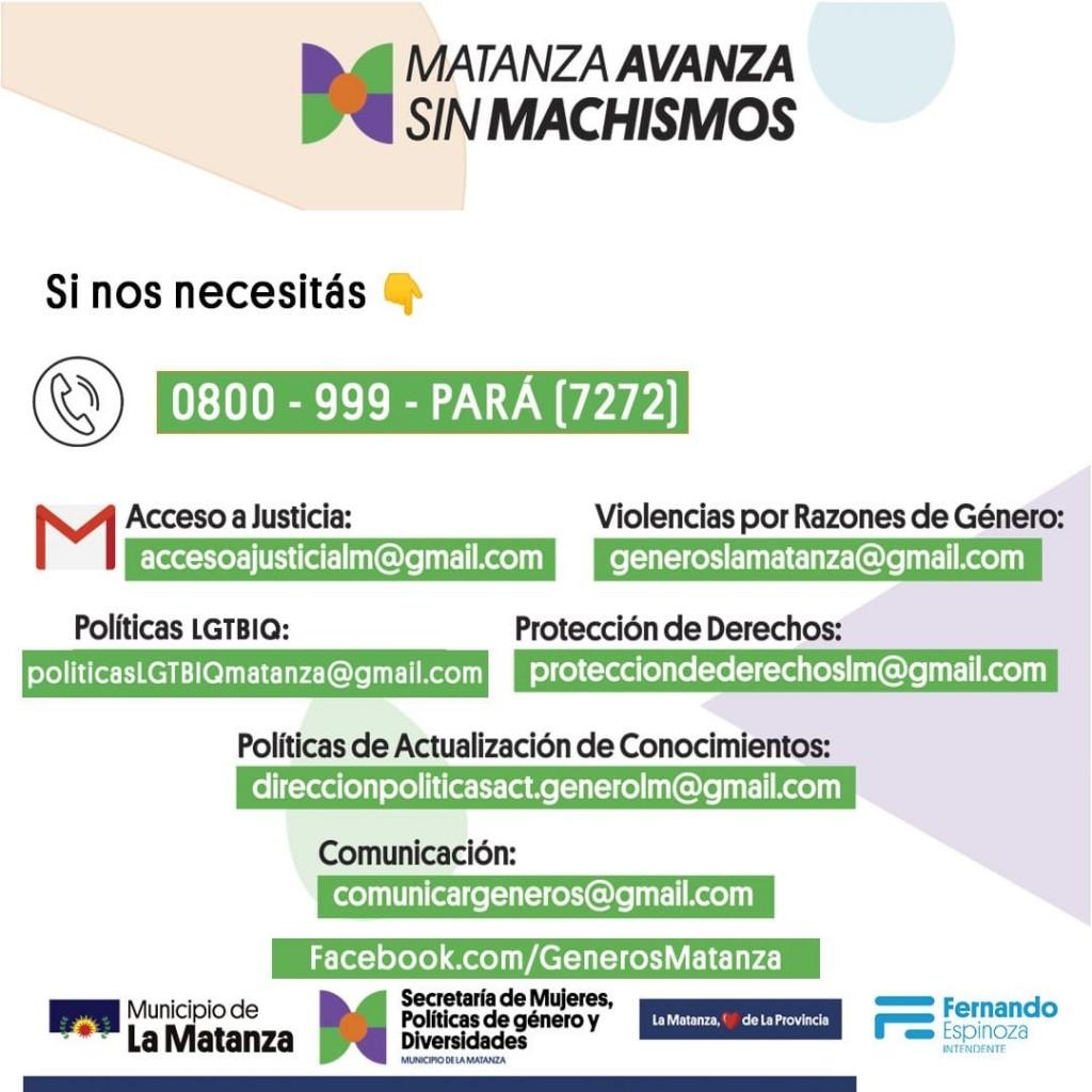 1700 llamados al 0800 contra violencias de género en la Matanza