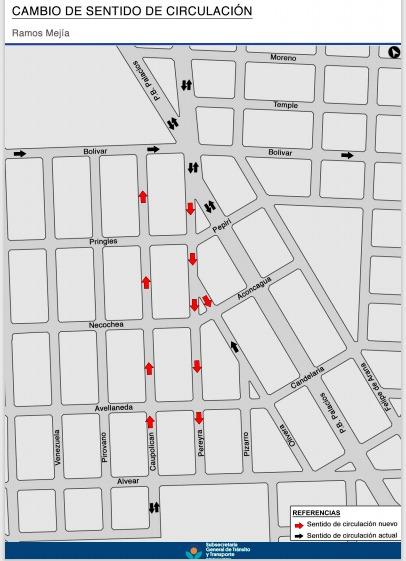 Señalización vial en el Distrito: Cambio de manos en Ramos Mejía
