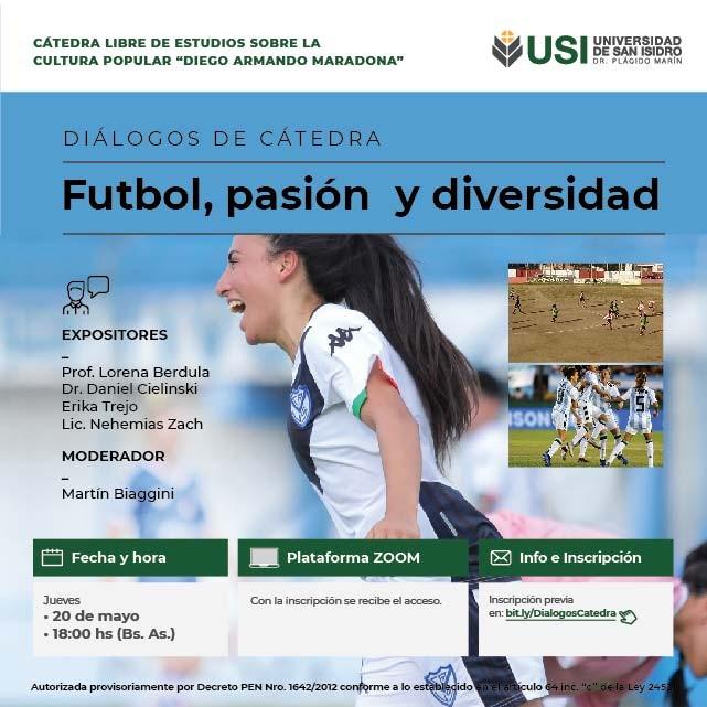 Conversatorio del jueves 20 de mayo, a las 18 hs: fútbol: pasión y diversidad.