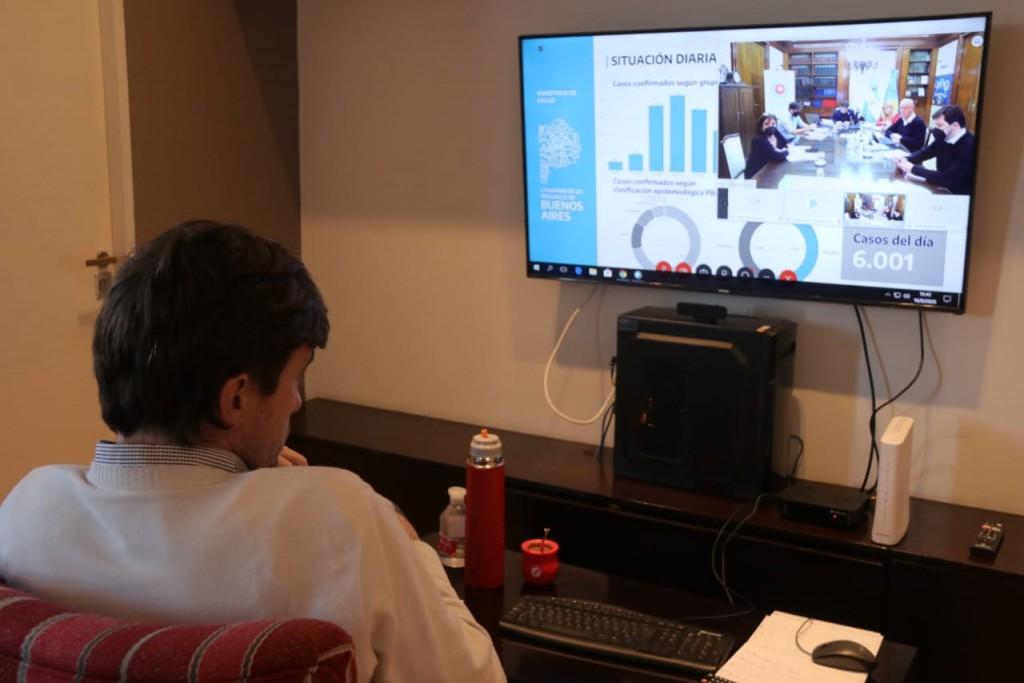 Lucas Ghi participó de un encuentro con Kicillof para analizar la situación sanitaria