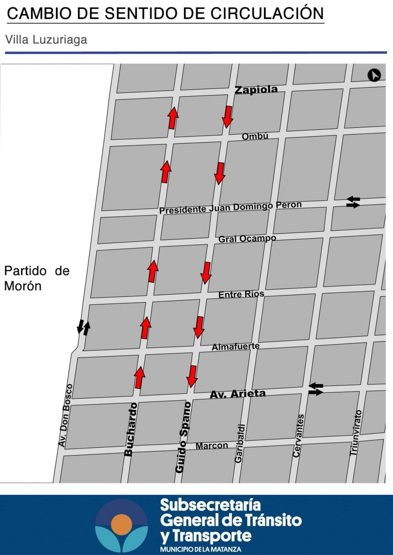 Cambio de sentido en calles de Villa Luzuriaga