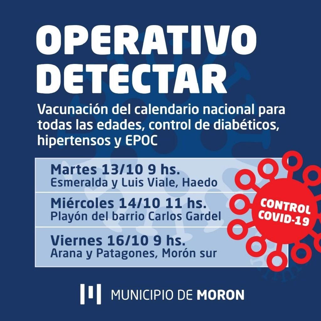 El Municipio realizará operativos de detección temprana de COVID-19 en Haedo, Morón sur y El Palomar.