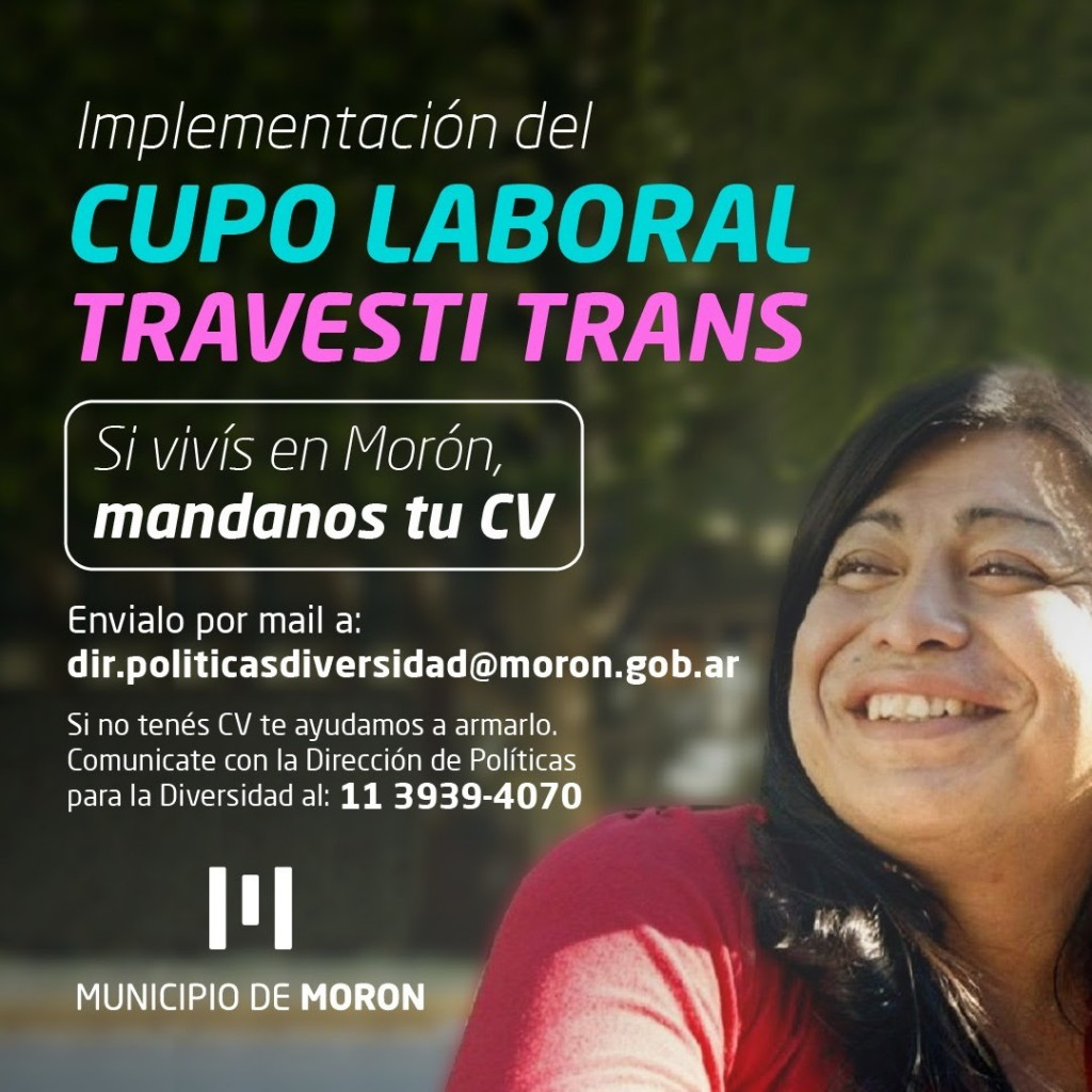 El Municipio de Morón avanza con la implementación del cupo laboral travesti-trans