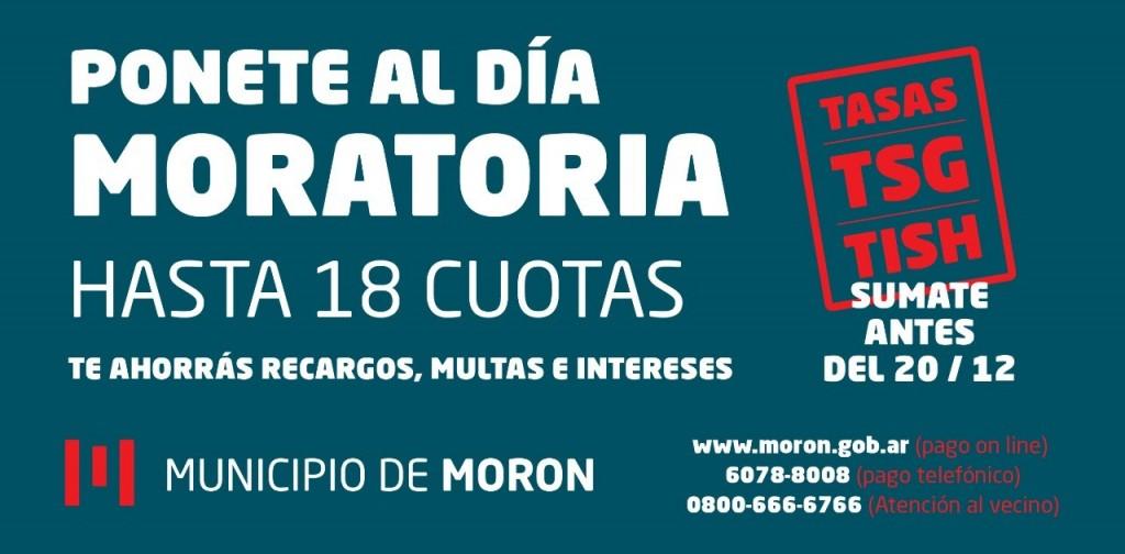 Moratoria extraordinaria para deudores de tasas municipales en el Municipio de Morón
