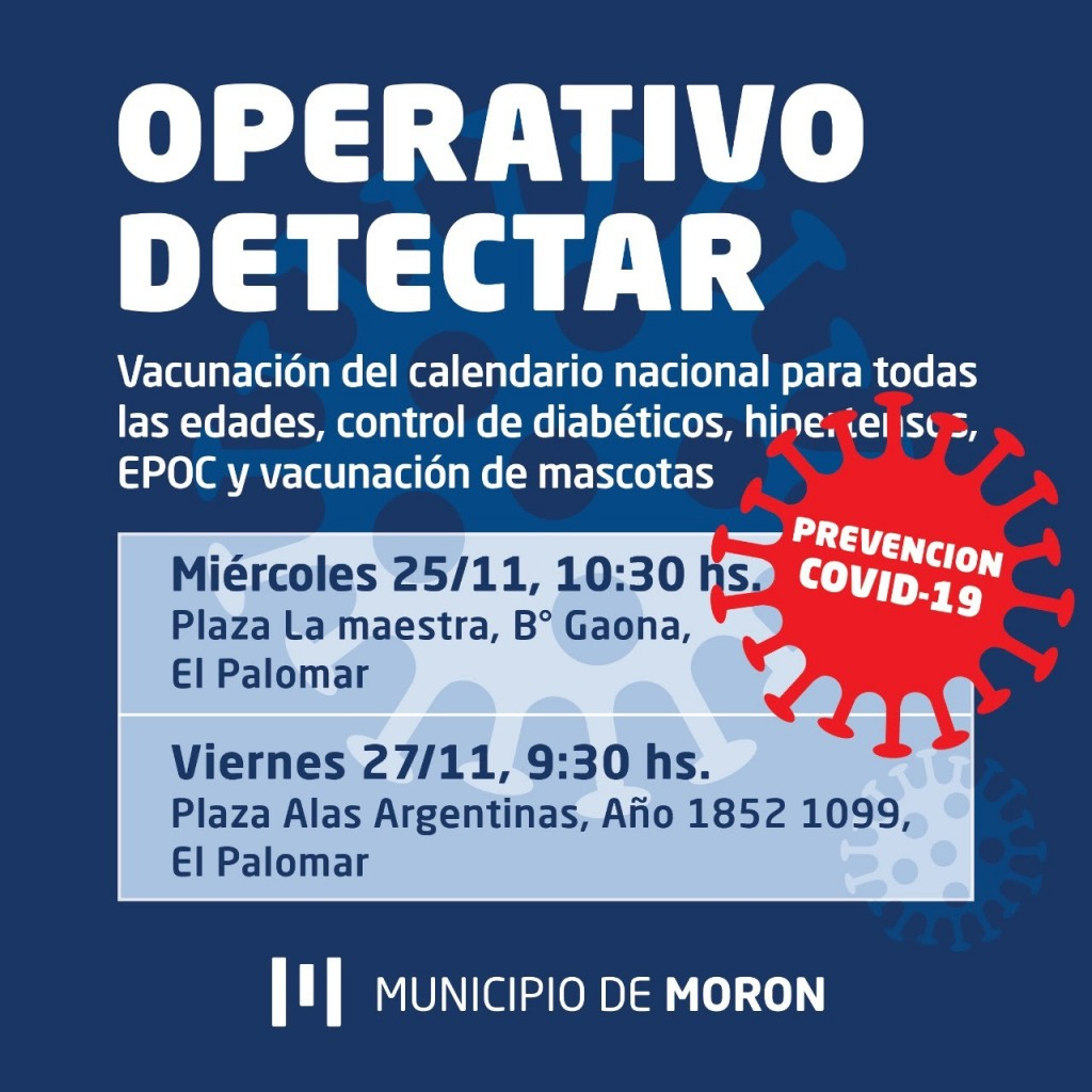 El Municipio de Morón realizará nuevos Operativos Detectar en El Palomar
