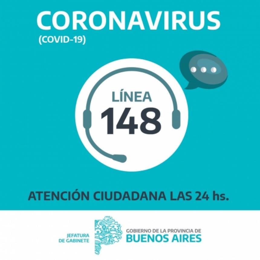 El Gobierno Bonaerense puso en funcionamiento la línea 148 para recibir consultas por coronavirus