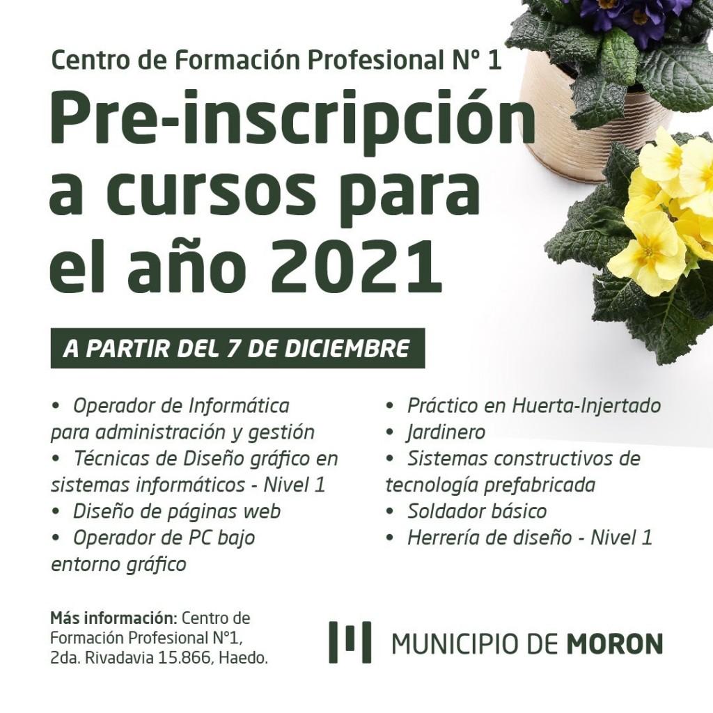 El Municipio de Morón abrió la preinscripción a cursos del Centro de Formación Profesional