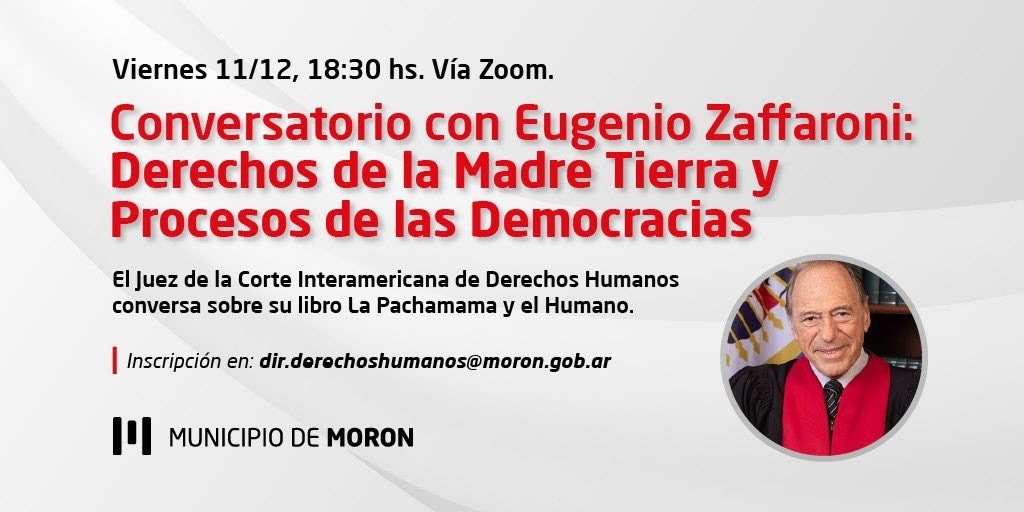 El Municipio de Morón invita a la charla virtual con Eugenio Zaffaroni
